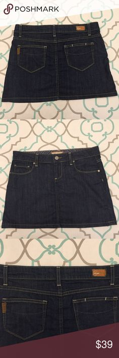 Paige Mini Jean Skirt! 26 Dark Cute Perfect! Adorable Paige Mini Skirt Jean Skirt. Size 26. Anthropologie! Ask me any questions! Paige Jeans Skirts Mini