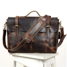 64fd2b9448 Vintage Leather Briefcase   Messenger   13