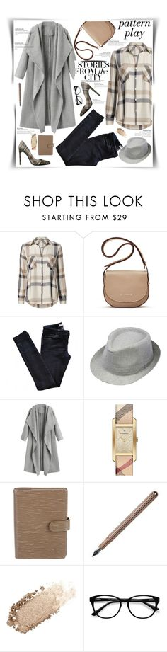 """""""Story from the City"""" by gingerbrand ❤ liked on Polyvore featuring L'Agence, Elizabeth and James, Vanessa Bruno Athé, Henschel, Burberry, Louis Vuitton, Berylune, Chantecaille, EyeBuyDirect.com and plaid"""