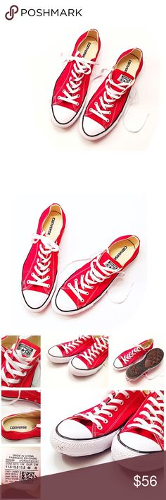 Converse All Star Red Sneakers Women 13.5 Men 11.5 Inspired from Chuck Taylor's iconic basketball shoes these Converse Ox make a great addition to any athleisure rotation. They retain the original style w/ new modern enhancements. Bright Red Sport Tennis Shoes • smoke & cat free home • a bit of dirt on soles, worn once for two hours for a photo shoot • fall / winter season, casual work days, back to school • Stylish & Trendy SIZE Men 11.5 / Women 13.5 • Textile canvas, rubber sole & toe…