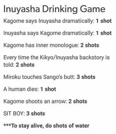 Inuyasha~ The only game to play if you don't want to come out sober