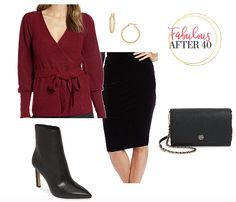When you don't want to wear a thick, chunky sweater, a women's wrap sweater is a cozy, elegant choice. Here's what trending in wrap front sweaters and three chic ways to wear them. Sweaters And Jeans, Cozy Sweaters, Sweaters For Women, Business Chic, Business Fashion, Big Knits, Velvet Skirt, I Love Makeup, Burgundy Sweater