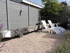 Seaside Garden, Go Outside, Outdoor Furniture, Outdoor Decor, Sun Lounger, Shed, Patio, Outdoor Structures, Home Decor