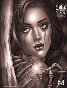 f Sorcerer portrait tower skeleton OG ABEL Chicano Style Tattoo, Chicano Tattoos, Tattos, Chicano Drawings, Art Drawings, Og Abel Art, Dr Tattoo, Airbrush, Girl Face Tattoo