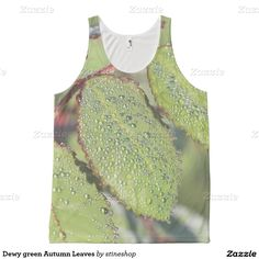 Dewy green Autumn Leaves All Over Print Tank Top
