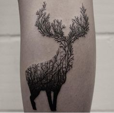 Creative stag tattoo by Oliver Whiting  www.illustratedmonthly.com