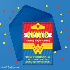 Digital 5x7 Invitation - Customizable - Wonder Woman