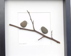Beautiful pebble picture with birds using a mixture of natural materials.  It is made in the Scottish Borders using natural materials gathered locally..…