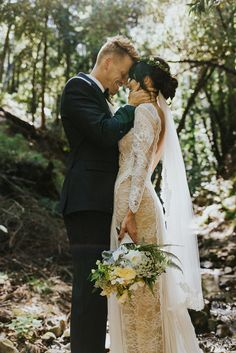 Sam and Katie's effortlessly chic Californian wedding, featuring our one-of-a-kind Inca gown.