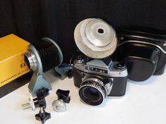 Working Ihagee EXA I A SLR camera + Macro bellows TESSAR 2,8/50 Zebra lens +case #Ihagee