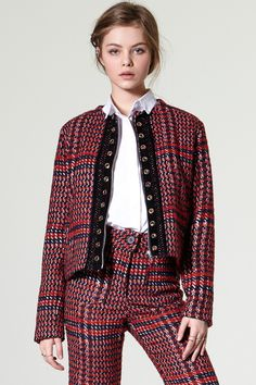 Cona Red Tweed Jacket Discover the latest fashion trends online at storets.com  #jacket #tweed #storets