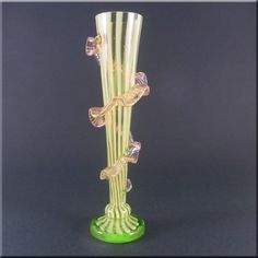 Harrach Bohemian Uranium Green Striped Glass Vase