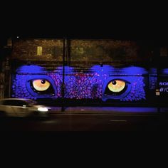 When I was coming back home, something was looking at me... #london #ldn #shoreditch #street #streetart #graffiti #graffitiart #streetartshoreditch #neoncolors #neonlights #purple #yellow #eyes #feral #night #carpassingby