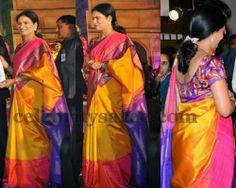 DK Aruna Tri Color Silk Saree | Saree Blouse Patterns