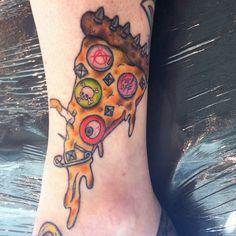 Food Tattoos!: Punk Rock Pizza! Pizza Tattoo, Food Tattoos, Rock Tattoo, Body Modifications, In The Flesh, Body Mods, Photo Illustration, Punk Rock, Tattoo Inspiration
