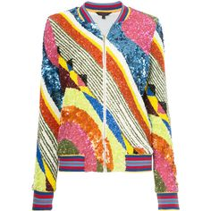 Manish Arora geometric patterned bomber jacket ($3,084) ❤ liked on Polyvore featuring outerwear, jackets, coats, multicolour, colorful bomber jacket, sequin jacket, colorful jackets, colorful sequin jacket and bomber style jacket