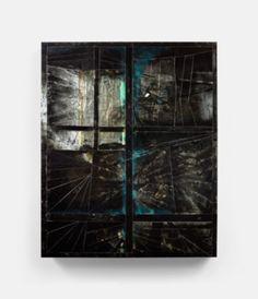 Dark Window (2012) 50 x 62 in., Layered acrylic glass, smashed glass, epoxy, silicone, caulking, spray enamel, paint, reflective vinyl, aluminum tape and wood