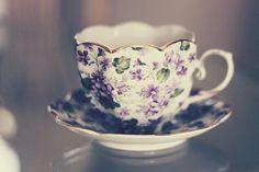 dainty, purple chintz tea cup