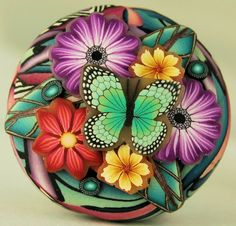 Polymer Clay Cane Slice Applique Circle Focal Bead by ikandiclay