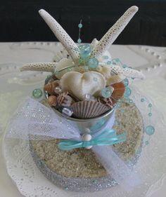 Seashell Beach Bucket Wedding Cake TopperBeach by CeShoreTreasures, $30.00