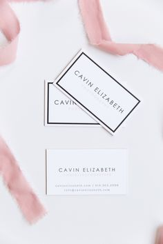 Cavin Elizabeth Letterpress Business Cards. Feminine, chic, minimal luxury photography business cards with white, blush, and black inks