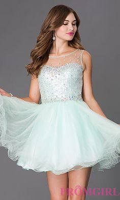 Homecoming Dress with Sheer Sequin Bodice by Elizabeth K at PromGirl.com