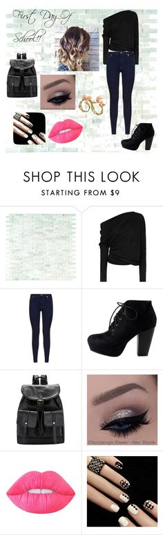 """First Day Of School!!"" by saviriggsluvschandler ❤ liked on Polyvore featuring Tom Ford, 7 For All Mankind, Lime Crime and Bernard Delettrez"