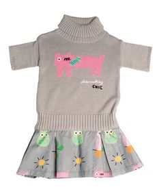 Love this Gray Cat Turtleneck Dress - Infant, Toddler & Girls by Lourdes on #zulily! #zulilyfinds