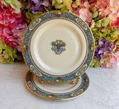 2 Beautiful Lenox Porcelain Dinner Plates Autumn ~ Enamel Fruit Scrolls #Lenox