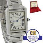 Cartier Tank Solo Mid Size Stainless Steel Silver Roman Quartz Watch 3170