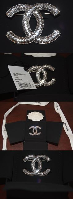 Pins and Brooches 50677: Chanel Crystal Pin Brooch Cc Logo Clear Crystals Nib Valentine Gift? BUY IT NOW ONLY: $899.0