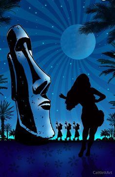 'Tiki Night Art by James Cattlett' by CattlettArt – yogaroom Retro Kunst, Retro Art, Tiki Man, Tiki Tiki, Tiki Hawaii, Tiki Decor, Tiki Totem, Tiki Lounge, Vintage Tiki