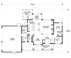 Craftsman Style House Plan - 4 Beds 3.50 Baths 2909 Sq/Ft Plan #56-597 Floor Plan - Main Floor Plan - Houseplans.com