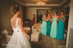 Surpresa da noiva para as madrinhas Madrinhas tons diferentes, verde menta, turquesa Wedding, green bridesmaids, blue bridesmaids, mint and turquoise