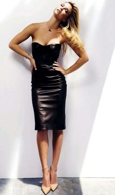 leather dress, I'd wear a cardigan with it.