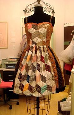 "Mary Adams apron dress using hand pieced ""tumbling blocks"" from client's great grandmother.. Great inspiration from all those unfinished quilt pieces found at estate and garage sales.."