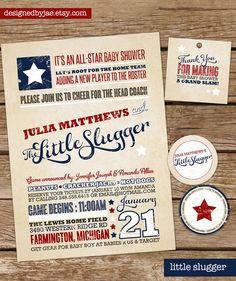 $16.00 #DesignedbyJae - Etsy - Baby Boy Shower Invitation - Little Slugger - Baseball - Sports - Vintage Modern Typography Poster, Rustic (digital diy printable)