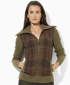 Lauren Ralph Lauren Petite Sweater, Long-Sleeve Lambswool Plaid Cardigan - Womens Lauren Ralph Lauren - Macy's