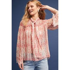 Intropia Smocked Tie-Neck Blouse ($265) ❤ liked on Polyvore featuring tops, blouses, pink, neck tie blouse, red neck tie, red necktie, red tie neck blouse and pink blouse