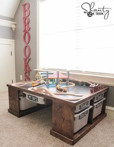playroom train table lego diy or DIY Train or Lego Table playroomYou can find Lego table and more on our website Mesa Lego, Table Lego, Playroom Organization, Storage Organization, Toy Rooms, Kid Spaces, Play Spaces, Kids Bedroom, 3 Year Old Bedroom Boy