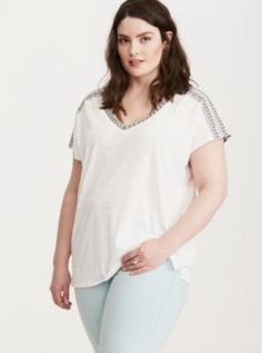 Embroidered Dolman Top in Cloud Dancer