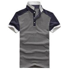 Men Short Sleeve Classic Stand Collar Pinstripe Polo T-Shirt