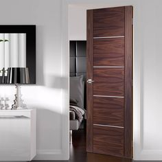 Flush Interior Doors – Page 6 Cheap Internal Doors, White Internal Doors, Bedroom Cupboard Designs, Bedroom Cupboards, Bathroom Doors, Small Bathroom, Walnut Doors, Door Fittings