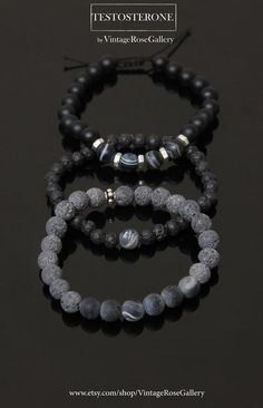 Men's BOHO Bracelets , Black Gemstones Mens Bracelet, Stacking Mens Bracelet by VintageRoseGallery