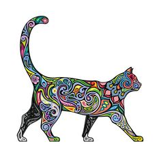 Cheerful Psychedelic Cat Decal Made In The USA With High