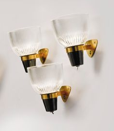 M♥ Ignazio Gardella; Brass, Glass and Enameled Metal Wall Lights for Azucena, Wall Lights, Lamp, Sconce Lamp, Metal Wall Light, Lights, Side Lights, Milan Design, Glass, Vintage Lamps