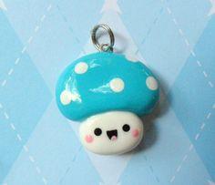Kawaii Mushroom Charm Blue Cute Polymer Clay Charm by JollyCharms, $5.00