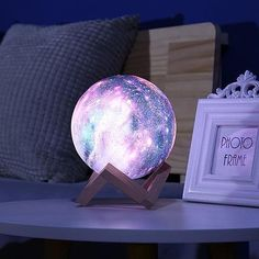 Galactic Moon Lamp Our Galactic Moon Lamp is Out of This World, Literally 😍Perfect for adding Cosmic Elegance to your desk, or your bedside. Bedroom Lamps, Bedroom Decor, Cute Room Decor, Aesthetic Room Decor, Dream Rooms, My New Room, Home Design, Decoration, Room Inspiration