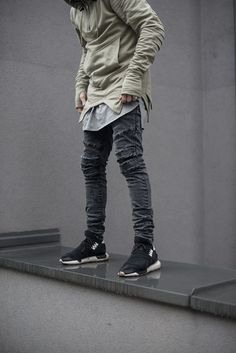 Gray jeans and olive hoodie