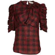 Isabel Marant Etoile Ilma checkered draped sleeve blouse ($175) ❤ liked on Polyvore featuring tops, blouses, bordeaux, sleeve shirt, checked shirt, loose shirts, red top and slim fit shirt